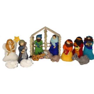 Weihnachtskrippe Krippe aus Filz Wollfilz Handarbeit Fairtrade 11014